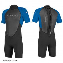 O'NEILL YOUTH WETSUITS REACTOR-2 2MM BACK ZIP S/S SPRING BLK/OCEAN 2021